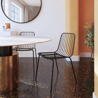 Caden Black Wired Design Dining Chairs In Pair