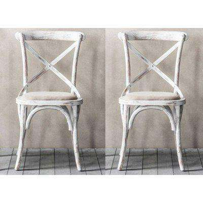 Cafe Cross Back White Wooden Dining Chairs In Pair