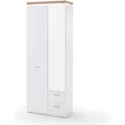 Cali LED Wooden Wardrobe In Oak And White With 2 Doors 2 Drawers