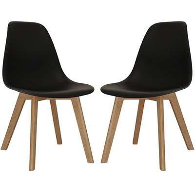 Canum Black Plastic Dining Chairs With Beech Legs In Pair