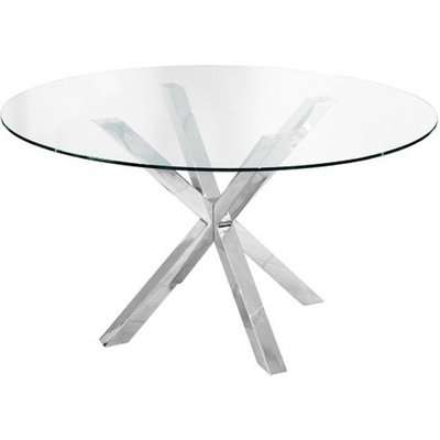 Crossley Glass Round Dining Table With Stainless Steel Base