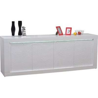 Carmen Sideboard In White Gloss With 4 Doors And LED Lighting