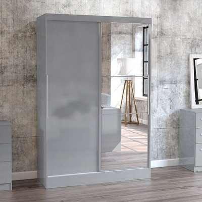 Carola Mirrored Sliding Wardrobe In Grey High Gloss With 2 Doors