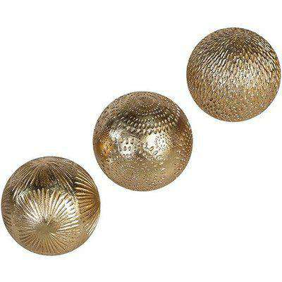 Carve Poly Large Set Of 3 Decoration Balls In Gold
