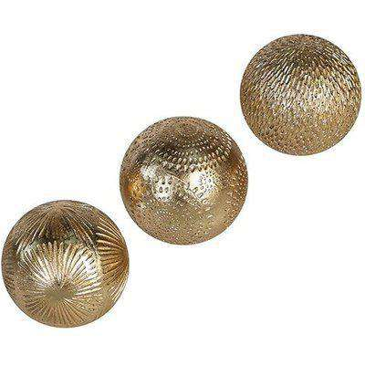 Carve Poly Small Set Of 3 Decoration Balls In Gold