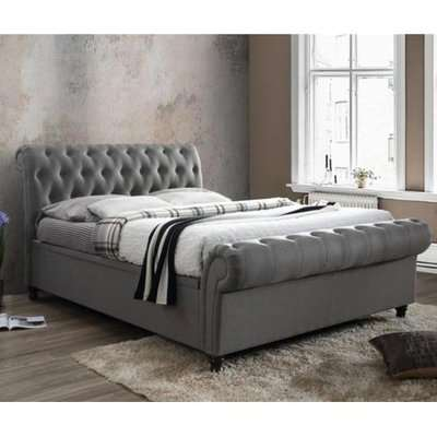 Castello Side Ottoman Super King Bed In Grey