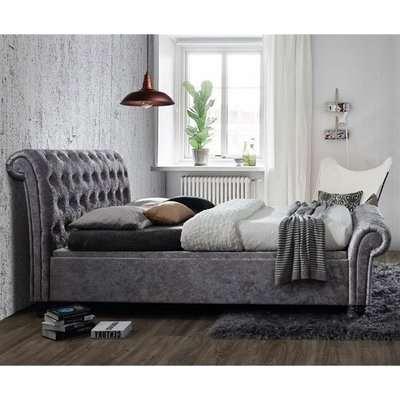 Castello Side Ottoman Super King Bed In Steel Crushed Velvet