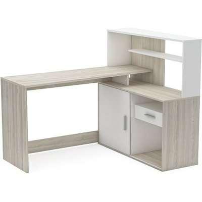 Cavalli Corner Computer Desk In Shannon Oak And Pearl White