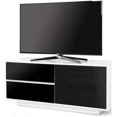 Century Ultra TV Stand In White Gloss With Black Gloss Drawers