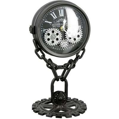 Chain Glass Table Clock With Black And Silver Metal Frame