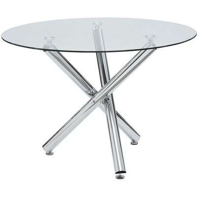 Kansas Glass Dining Table Round In Clear With Chrome Legs