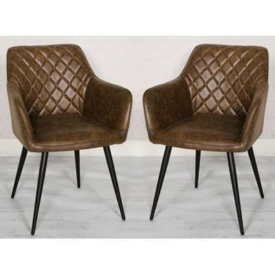 Charlie Antique Brown Faux Leather Carver Dining Chair In A Pair