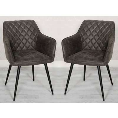 Charlie Grey Faux Leather Carver Dining Chairs In A Pair