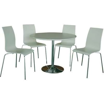 Chelsey Wooden Dining Table Round In Walnut With 4 Chairs