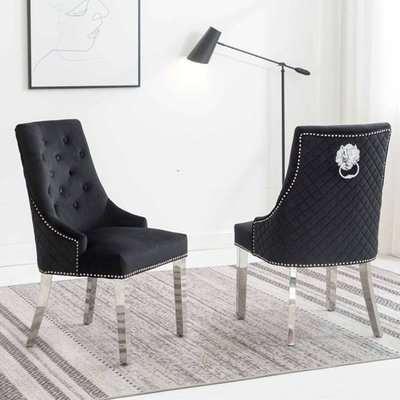 Chelsi Black Velvet Upholstered Dining Chair In Pair