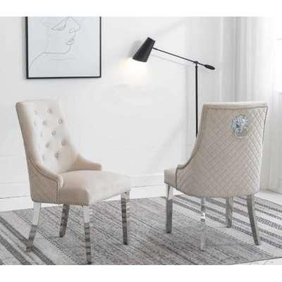 Chelsi Cream Velvet Upholstered Dining Chair In Pair