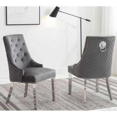 Chelsi Dark Grey Velvet Upholstered Dining Chair In Pair