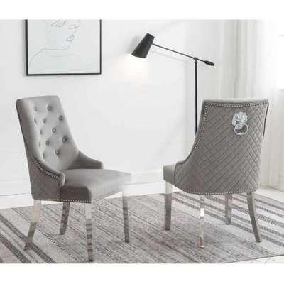 Chelsi Light Grey Velvet Upholstered Dining Chair In Pair