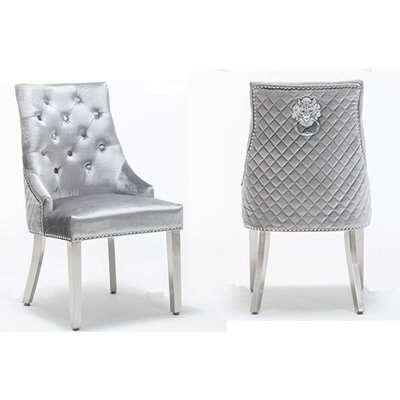 Chelsi Shimmer Grey Velvet Upholstered Dining Chair In Pair