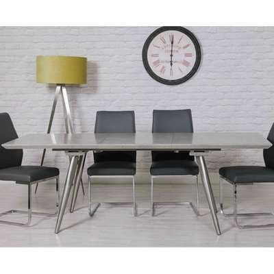 Chicago Extending Dining Table With Brushed Steel Legs