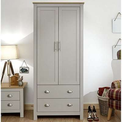 Valencia Wooden Wardrobe In Grey And Oak With 2 Doors