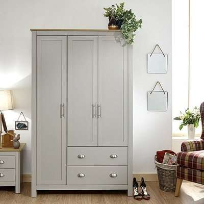 Valencia Wooden Wardrobe Wide In Grey And Oak With 3 Doors