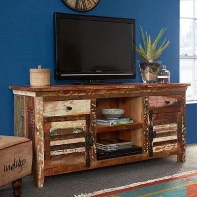 Coburg Wooden TV Sideboard In Reclaimed Wood With 2 Doors