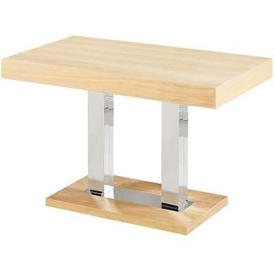 Coco Wooden Dining Table In Oak Veneer With Chrome Supports