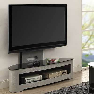 Cohen Curved Cantilever TV Stand In Grey Ash And Black Glass