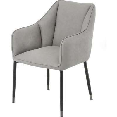 Cohle Armchair In Grey Faux Leather With Black Legs