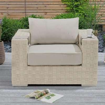 Columbine Wicker Weave Garden Armchair In Ivory And Cream