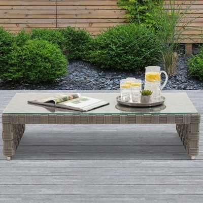 Columbine Glass Top Wicker Weave Garden Coffee Table In Grey