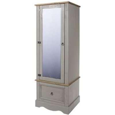 Corina Armoire With Mirrored Door Wardrobe In Grey
