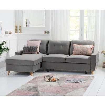 Coreen Velvet Left Hand Facing Chaise Sofa Bed In Grey
