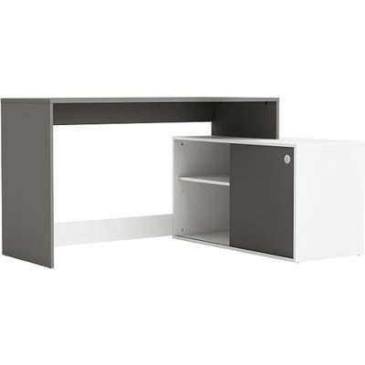Corsica Corner Computer Desk In Graphite Grey And White