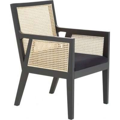 Corson Cane Rattan Wooden Accent Chair In Black