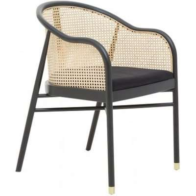 Corson Cane Rattan Wooden Bedroom Chair In Black