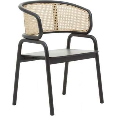 Corson Wooden Cane Rattan Bedroom Chair In Black