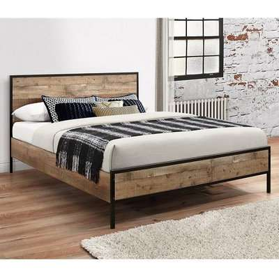 Coruna Wooden King Size Bed In Rustic And Metal Frame