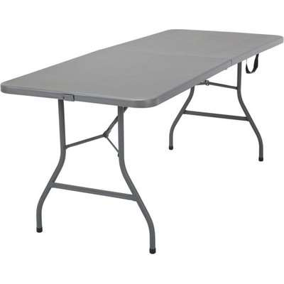 Cosco Fold-In-Half Molded Resin Top Dining Table In Grey