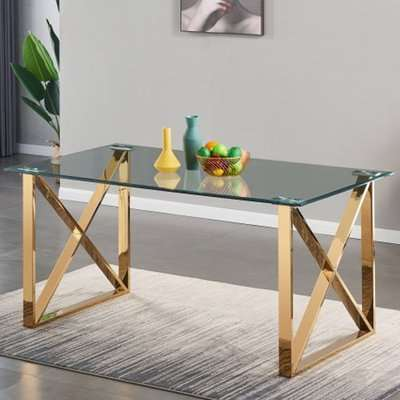 Costa Clear Glass Dining Table With Gold Stainless Steel Legs
