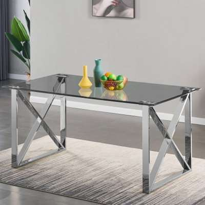 Costa Clear Glass Dining Table With Silver Stainless Steel Legs