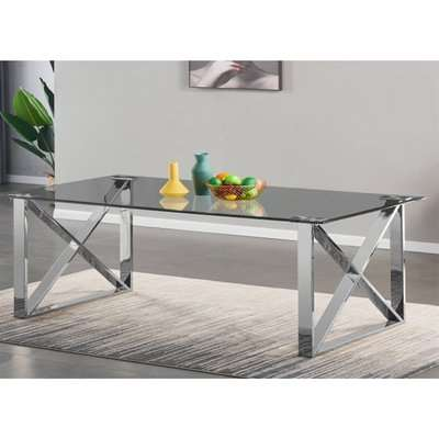 Costa Large Glass Dining Table With Silver Stainless Steel Legs