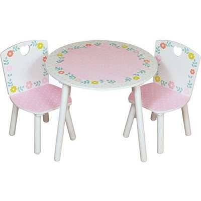 Country Cottage Kids Round Table With 2 Chairs In Pink And White