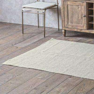 Creyon Cotton Woven Fabric Rug In Chevron Oatmeal