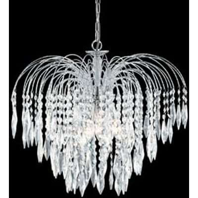 Crystal 5 Lamp Waterfall Chrome Finish Chandelier Ceiling Light
