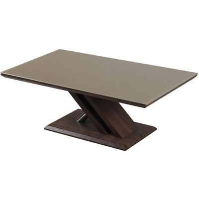 Cubic Coffee Table In Beige Glass Top With Walnut Base
