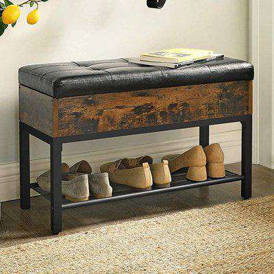 Decatur Storage Box Padded Shoe Bench In Rustic Brown and Black