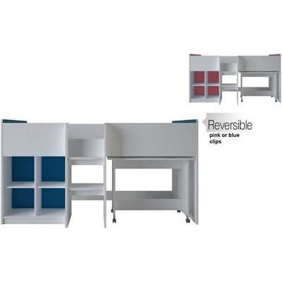 Delphi Mid Sleeper Bed In Pearl White With Desk