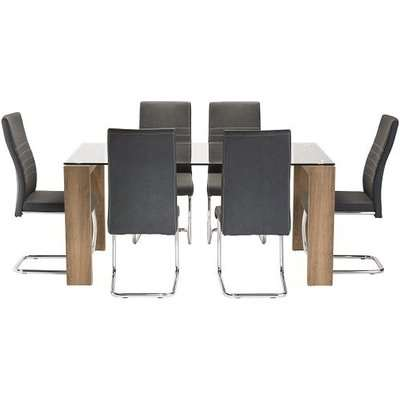 Devan Glass Dining Table Set In Clear With 6 Black Chairs